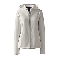 Lands' End - Cream petite everyday fleece hooded jacket