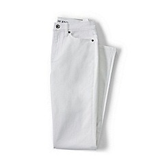 Lands' End - White high rise stain repellent straight leg white jeans