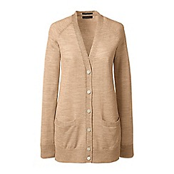 Lands' End - Beige regular  v-neck merino cardigan
