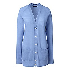Lands' End - Blue petite v-neck merino cardigan