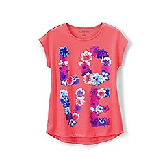 Lands' End - Pink girls' dolman sleeve graphic tee