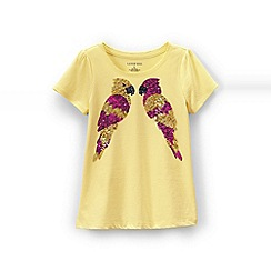 Lands' End - Yellow girls' scalloped edge graphic tee