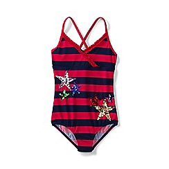 Lands' End - Girls' red coastal spirit stars & stripes ruffle swimsuit