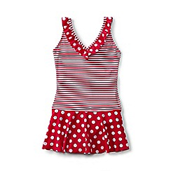 Lands' End - Girls' red coastal spirit skirted ruffle swimsuit
