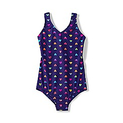 Lands' End - Purple girls' smart swim printed one piece