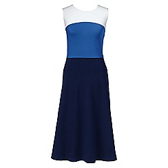 Lands' End - Blue ponte jersey colourblock panelled dress