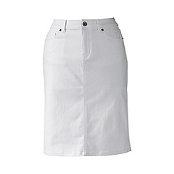 Lands' End - White stain-resist white petite denim skirt
