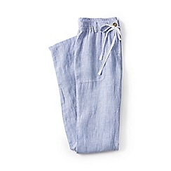 Lands' End - Blue regular linen striped roll hem trousers