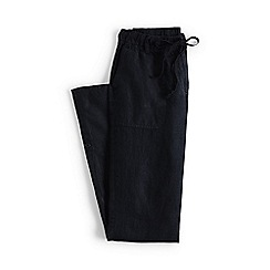 Lands' End - Black regular linen roll hem trousers