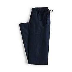 Lands' End - Blue regular linen roll hem trousers