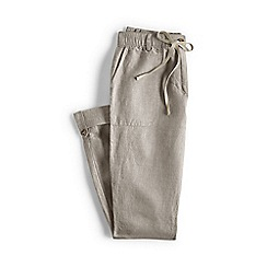 Lands' End - Beige regular linen roll hem trousers