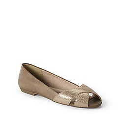 Lands' End - Gold wide open toe shoes