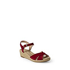Lands' End - Red  wide reese low wedge sandals