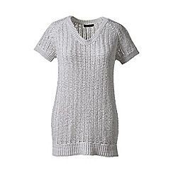 Lands' End - Grey regular cotton tape short sleeve soft v-neck
