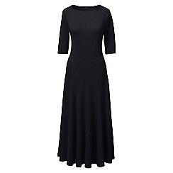 Lands' End - Black regular elbow sleeve ponte jersey panelled dress