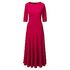 Lands' End - Red regular elbow sleeve ponte jersey panelled dress