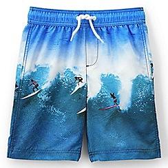 Lands' End - Boys' Blue photo print swim shorts