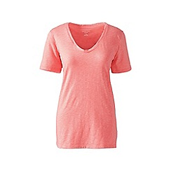 Lands' End - Pink cotton/modal slub v-neck tee