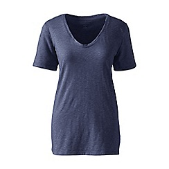 Lands' End - Blue cotton/modal slub v-neck tee