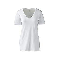 Lands' End - White cotton/modal slub v-neck tee