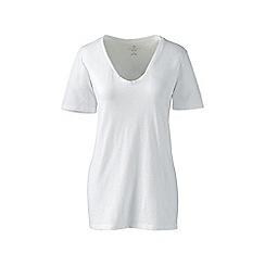 Lands' End - White cotton/modal slub v-neck tee