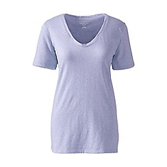 Lands' End - Purple cotton/modal slub v-neck tee