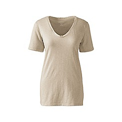 Lands' End - Green petite cotton/modal slub v-neck tee