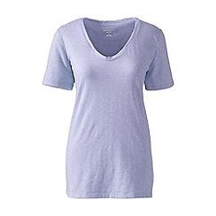 Lands' End - Purple cotton/modal slub v-neck tee