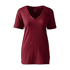 Lands' End - Plus size Red cotton/modal slub v-neck tee