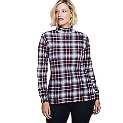 Lands' End - Blue women's long sleeve plaid cotton interlock polo neck