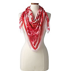 Lands' End - Red   ivory melrose botanical square scarf