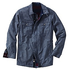 Lands' End - Blue men's flannel-lined chambray shirt