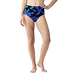 Lands' End - Blue beach living blossom print high waist bikini bottoms