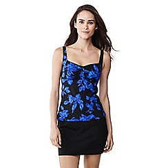 Lands' End - Blue beach living blossom print sweetheart tankini top
