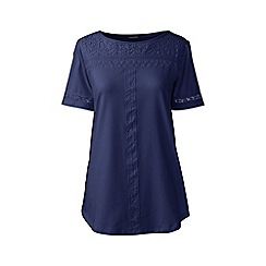 Lands' End - Blue regular cotton/modal boatneck lace tee