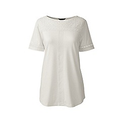 Lands' End - Cream regular cotton/modal boatneck lace tee