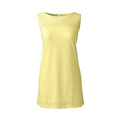Lands' End - Gold regular cotton/modal sleeveless lace tee