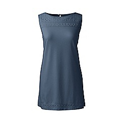 Lands' End - Blue regular cotton/modal sleeveless lace tee