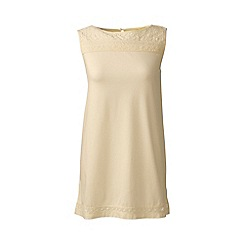 Lands' End - Cream regular cotton/modal sleeveless lace tee