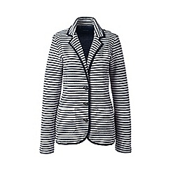 Lands' End - Cream regular striped jersey blazer