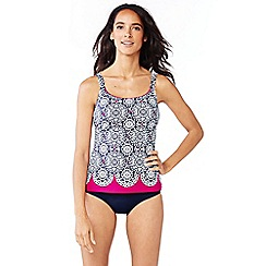 Lands' End - Blue scallop geo print scoop neck tankini top