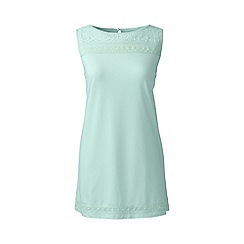 Lands' End - Blue plus cotton/modal sleeveless lace tee