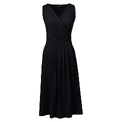 Lands' End - Black regular jersey crossover dress