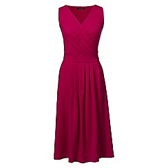 Lands' End - Red regular jersey crossover dress