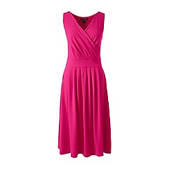 Lands' End - Pink petite plain sleeveless crossover dress