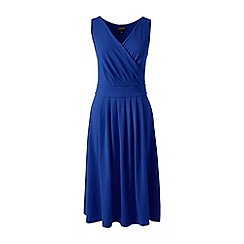 Lands' End - Blue petite plain sleeveless crossover dress