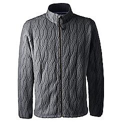 Lands' End - Grey regular cable fleece jacket