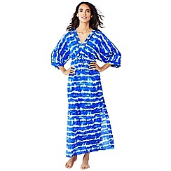Lands' End - Blue silk blend tie dye maxi kaftan