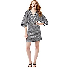 Lands' End - Grey silk blend floral medallion mid-length kaftan
