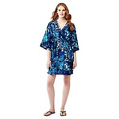 Lands' End - Blue silk blend leaf print mid-length kaftan